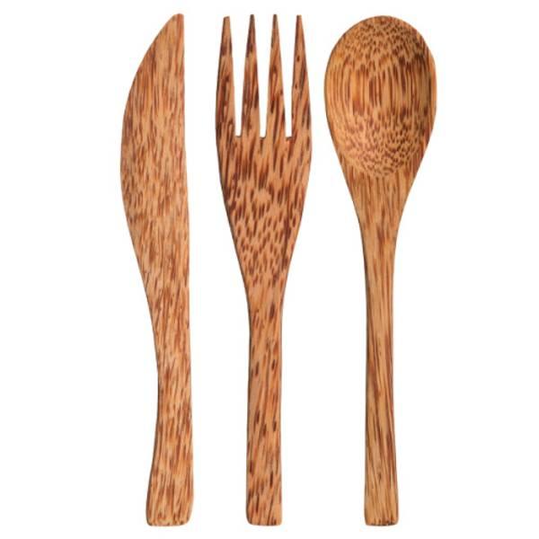 Bilde av 3pk turbestikk i kokosnøtt - kniv, skje og gaffel / Beeorganic