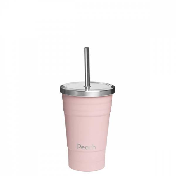Bilde av 300 ml smoothiekopp med sugerør, Rosa / Peach