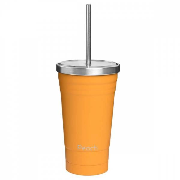 Bilde av 600 ml smoothiekopp med sugerør, Oransje / Peach