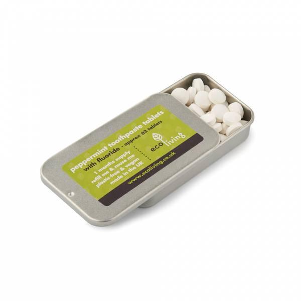 Bilde av 62stk tannkremtabletter med fluor, tinnboks / ecoLiving