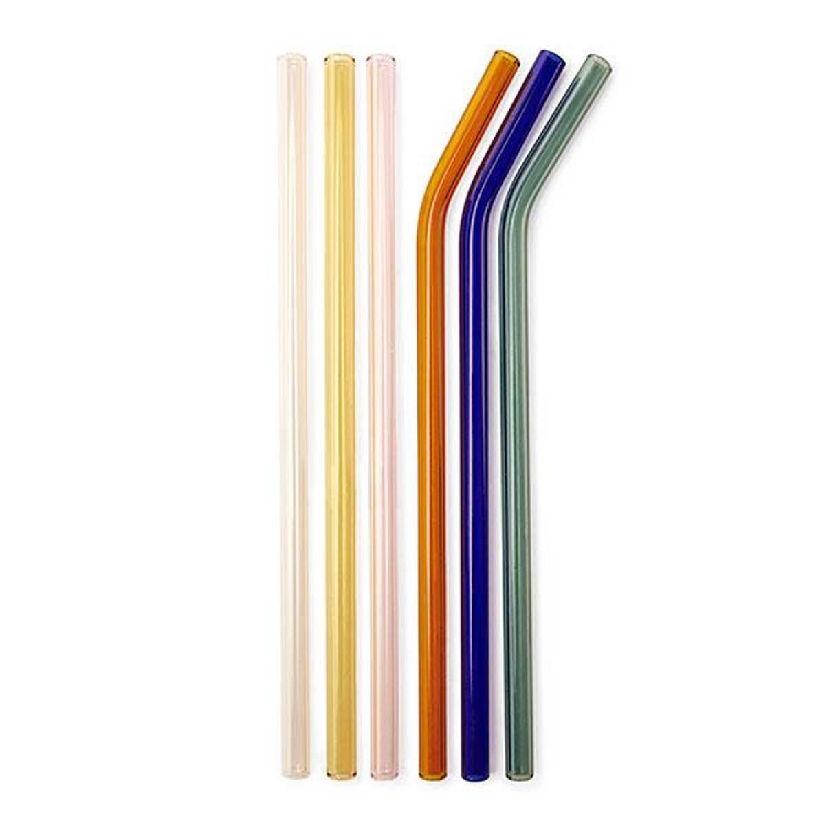 6-pk fargede sugerør i glass, 3 bøyde + 3 rette / Kikkerland